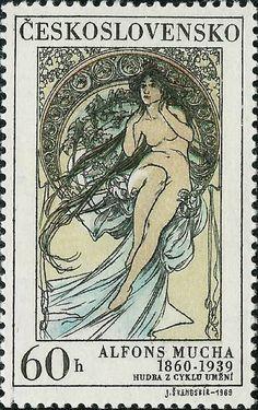 * Postzegel: A.Mucha: Hudba (Tsjechoslovakije) (Art Alphonse Mucha) Mi:CS 1885,Sn:CS 1635,Yt:CS 1732,AFA:CS 1730,POF:CS 1775