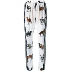 Stella Mccartney Dog Print Silk Trousers ($995) ❤ liked on Polyvore featuring pants, white, white straight leg pants, stella mccartney, white pants, striped trousers and striped pants