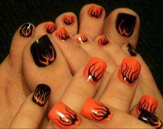 cool black orange fall nail polish Fall Nail Art 2013