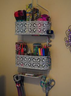I re-purposed a shower caddy as shelving for some of my craft supplies. :)