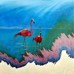 Garip Ay'a ait barut ebrusu üzerine suluboya eser; Flamingolar, 2009.  #GaripAy #barutebrusu #suluboya #eser #Flamingolar #marbling #artwork