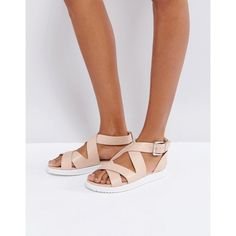 London Rebel Crossover Chunky Flat Sandal (32 CAD) ❤ liked on Polyvore featuring shoes, sandals, beige, beige strappy sandals, flat shoes, flat sandals, t-strap flat sandals and beige flat sandals