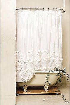 Anthropologie Waves Of Ruffles Shower Curtain So Into Shabby Chic These Days