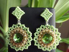 green rivoli earrings,my beadwork