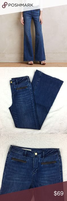 """Pilcro and the Letterpress Stet Flare Jeans Waist 14""""   Inseam 32""""   Rise 10.5"""" — 92% cotton, 6% polyester, 2% spandex.  Medium/dark blue.  High-rise flare with leather braided trimmed pockets.  Front welt pockets, back patch pockets.  Missing the size number; please use measurements to ensure fit.  Excellent pre-owned condition. Anthropologie Jeans Flare & Wide Leg"""