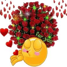 Smiley face/roses for you Emoticon Faces, Funny Emoji Faces, Funny Emoticons, Smileys, Smiley Faces, Flowers Gif, Red Flowers, Hello Quotes, Love Smiley