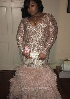 This rose gold mermaid plus size prom dress features long sleeves and geometric pattern sequin all over the bodice. And the puffy feather bottom finished this long trumpet prom dress. Gold Plus Size Dresses, Plus Prom Dresses, Black Girl Prom Dresses, Grad Dresses Short, Bride Dresses, Formal Dresses, Dance Dresses, Homecoming Dresses, Bridesmaid Dresses