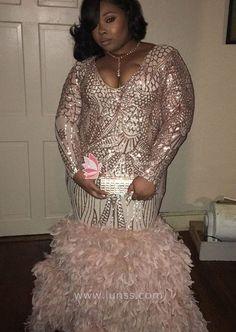 43a73cb007c Rose Gold Long Sleeve Geometric Pattern Sequin Mermaid Plus Size Prom Dress.  Pink Prom DressesGold ...