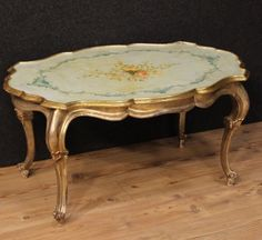 Lacquered, Venetian Hand-Painted and Silvered Coffee Table (c. 1960Venice)…