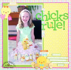 Doodlebug Design Inc Blog: Bunnyville Collection: Chicks Rule Layout by Kathy