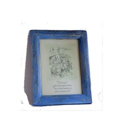 Vintage Winnie the pooh Disney card. This party said Christopher robin its a party because of what someone did. Vintage blue shabby wood frame. Classic pooh quote and an Ernest Shepard illustration. Standing picture frame. Nursery shelf decor.  A print of an illustration by Ernest Shepard to the one of the AA Milne Pooh books.  Vintage Winnie the pooh Disney card. The Disney card was bought In London on 1994.  Winnie the pooh. Vintage wood frame. Pooh bear. Winnie the pooh nursery. Pooh…
