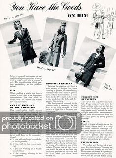 """what-i-found: """"You Have The Goods On Him""""~ Here's some more from Make and Mend for Victory. This is a bit wordy, but if any of you want to actually re-purpose a man's suit into a woman's you'll need all the details. Vintage Ads, Vintage Sewing, Vintage Clothing, Vintage Fashion, Suits For Women, Mens Suits, Mad Men Peggy, Remake Clothes, Make Do And Mend"""