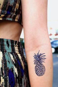 Pineapple design Dutch 'Delfts Blauw' blue temporary tattoo on Etsy, $6.00