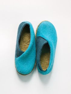 9e24c480d1b8 Turquoise Blue Envelope Slippers with olive insoles Felted Felt Material