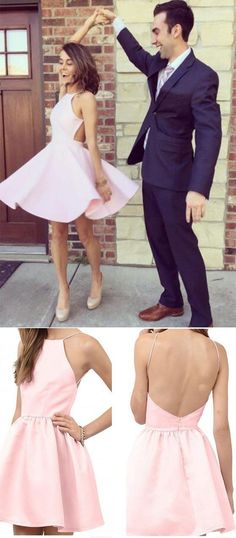 Knee Length Sexy Open Back Spaghetti Straps Light Pink Homecoming Dress
