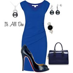 Am I Blue!!! by ddteach on Polyvore featuring DVF, Christian Louboutin, Furla, Miadora and DKNY