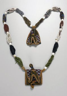 Africa | Diviner's necklace ~ odigba ifa ~ from the Yoruba people of Nigeria | Glass beads, cotton, bead embroidery | 1,250$ ~ sold (Nov '13)