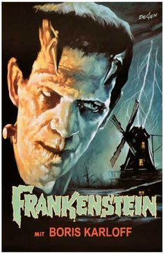 A fantastic poster of Boris Karloff as Frankenstein! A classic horror movie from Hollywood's Golden Age! From the German release of the film. Ships fast. 11x17 inches. Need Poster Mounts..?