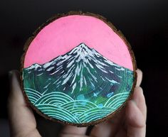 Mini mountain painting on cedar. Who says these are only for Christmas ornaments? I want to make a ton and string them down a wall