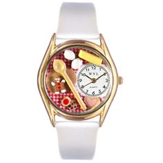 Baking White Leather And Goldtone Watch - http://www.artistic-watches.com/2012/10/24/baking-white-leather-and-goldtone-watch-2/