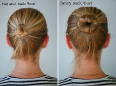 sock bun! @Holly Heffinger, found a tutorial so i know how the heck you do your buns!