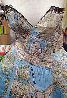 Recycle Santa Fe Art Festival - map dress at the festival's fashion show .