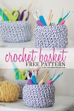 Crochet Basket Pattern by Rescued Paw Designs - Crochet Basket FREE Tutorial and Pattern