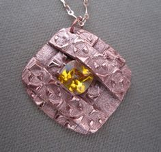 Metal Clay Gemstone Pendant Necklace Yellow by FirednWiredJewelry on etsy