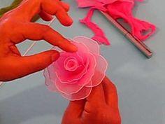 Fabrication d'une rose en collant, Making of a rose, love it! Nylon Flowers, Faux Flowers, Diy Flowers, Fabric Flowers, Paper Flowers, Ribbon Art, Diy Ribbon, Ribbon Crafts, Flower Crafts