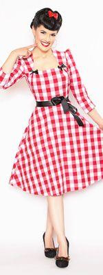 Rockabilly Girl by Bernie Dexter 1940s Style Dress - Red Gingham Print $136.00 http://www.vintagedancer.com/vintage/summer-gingham-dresses/