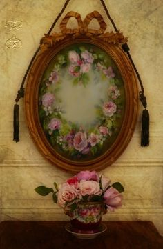 antique frame with hand painted roses on glass...♥