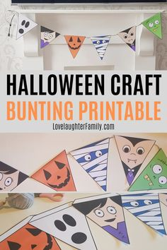 This printable Halloween craft is a Halloween bunting with goofy spooky characters that the kids will enjoy making. Halloween Bunting, Pet Halloween Costumes, Halloween Crafts For Kids, Crafts For Kids To Make, Scary Halloween, Halloween Themes, Halloween Party, Easter Crafts For Toddlers, Toddler Crafts