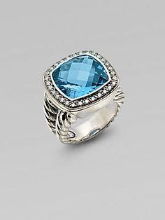 David Yurman Blue Topaz, Diamond & Sterling Silver Ring