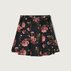 Abercrombie & Fitch Pleated Neoprene Skater Skirt found on Polyvore featuring polyvore, women's fashion, clothing, skirts, bottoms, navy floral, knee length pleated skirt, floral circle skirt, floral skirt and pleated circle skirt