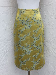 Oilily size 38 US size 8 light green Asian floral knee length skirt  #Oilily #ALine