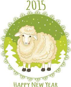 Chinese New Year waldorf craft year of sheep   Green snowflake and sheep, symbol of 2015 new year