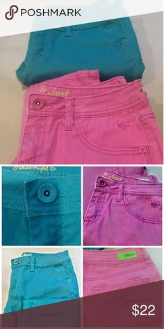 Girls Justice Jeans Girls Justice Jeans  Turquoise and Pink Bundle NWOT Justice Bottoms Jeans