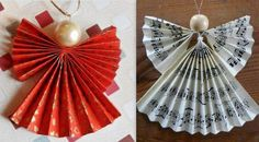 Make Christmas angels by folding paper - Quilling Paper Crafts Christmas Mood, Diy Christmas Tree, Christmas Angels, Christmas Ornaments, Kids Christmas, Felt Crafts Diy, Christmas Crafts, Diy Paper, Paper Crafts