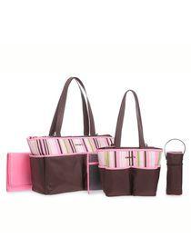 4 Piece Striped Diaper Bag Set