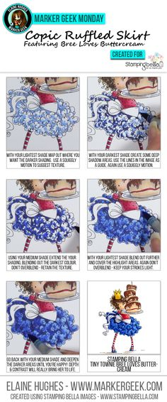 Copic Colouring a Ruffled Skirt by Marker Geek ft Stamping Bella Tiny Townie…