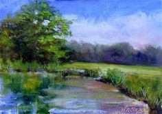 """Wolf Creek Pond~5x7~oil on linen"" $50.00- Original Fine Art for Sale - © Vincenza Harrity"