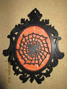 Silhouette Spider Web Portrait Wall Plaque Hanging Decoration (plaque holder not included) by PXWoodNJoys on Etsy