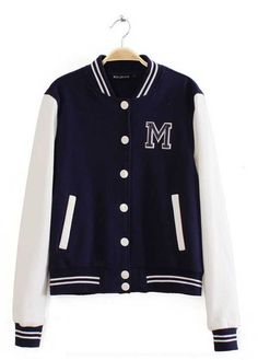 4d7a3ac6b4baaf Girls Navy White Letter M Baseball Jacket Online Girls Shopping