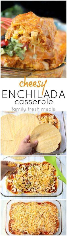 Dinner will be ready in 30 minutes! Cheesy Chicken Enchilada Casserole Recipe #30minutes #casserole #familyfreshmeals #chicken #enchiladas #mexican #recipe