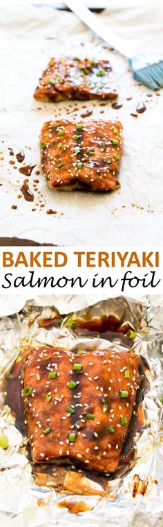 Teriyaki Baked Salmon in foil. A super easy and healthy dinner that takes 20 minutes to make! | chefsavvy.com #recipe #baked #teriyaki #salmon #seafood