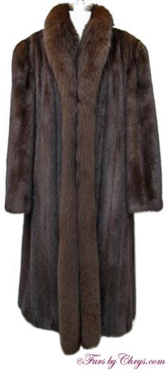 SOLD! Plus Size Mahogany Mink and Brown Fox Fur Coat #MMF695; Excellent Condition; Size range: 16 - 20 Tall. This is a stunning genuine natural mahogany mink fur coat in a nice, generous size. It features a full genuine dyed brown fox tuxedo collar and lightly padded shoulders. The lining is solid dark brown and there is NO MONOGRAM. It closes with hooks and eyes. When you want to exude glamour, slip into this elegant mahogany mink coat!