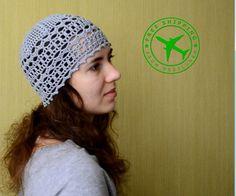 Crochet beanie. Gray crochet women's beanie. Summer crochet  beanie. Lacy beanie. 100 % cotton beanie. Beanie hat. Yarn beanie. Beanie cap.