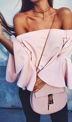 Pink off-the -shoulder top