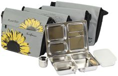 Three-compartment stainless steel lunchbox (star map)