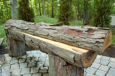 chainsaw cut bench   How to Build Your Own: Rustic Wood Benches   Henning House